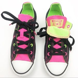 Converse All Star Lace Up Sneakers: Black/Neon